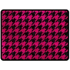Houndstooth1 Black Marble & Pink Leather Fleece Blanket (large)  by trendistuff