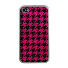 Houndstooth1 Black Marble & Pink Leather Apple Iphone 4 Case (clear) by trendistuff