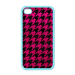 Houndstooth1 Black Marble & Pink Leather Apple Iphone 4 Case (color) by trendistuff