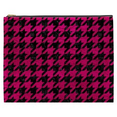 Houndstooth1 Black Marble & Pink Leather Cosmetic Bag (xxxl)  by trendistuff
