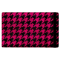 Houndstooth1 Black Marble & Pink Leather Apple Ipad 2 Flip Case by trendistuff