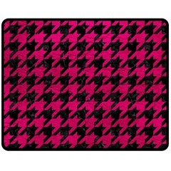 Houndstooth1 Black Marble & Pink Leather Double Sided Fleece Blanket (medium)  by trendistuff