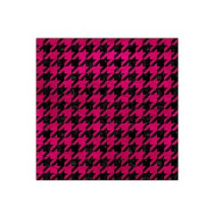 Houndstooth1 Black Marble & Pink Leather Satin Bandana Scarf by trendistuff
