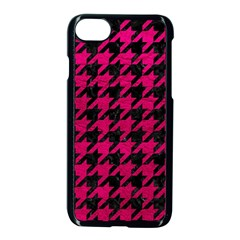 Houndstooth1 Black Marble & Pink Leather Apple Iphone 7 Seamless Case (black) by trendistuff