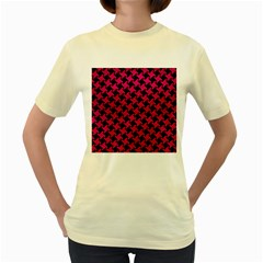 Houndstooth2 Black Marble & Pink Leather Women s Yellow T Shirt by trendistuff