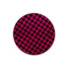 Houndstooth2 Black Marble & Pink Leather Rubber Round Coaster (4 Pack)  by trendistuff