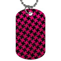 Houndstooth2 Black Marble & Pink Leather Dog Tag (two Sides) by trendistuff