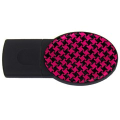 Houndstooth2 Black Marble & Pink Leather Usb Flash Drive Oval (2 Gb) by trendistuff