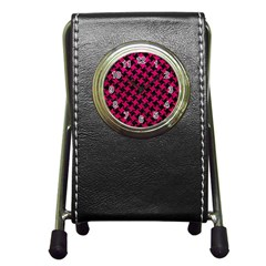 Houndstooth2 Black Marble & Pink Leather Pen Holder Desk Clocks by trendistuff