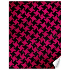 Houndstooth2 Black Marble & Pink Leather Canvas 18  X 24   by trendistuff