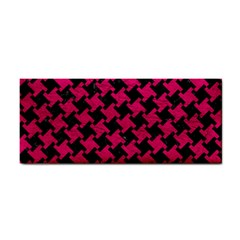 Houndstooth2 Black Marble & Pink Leather Cosmetic Storage Cases by trendistuff
