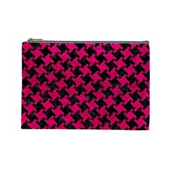 Houndstooth2 Black Marble & Pink Leather Cosmetic Bag (large)  by trendistuff