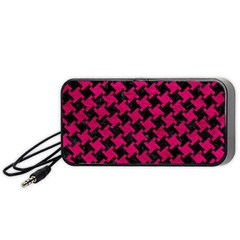 Houndstooth2 Black Marble & Pink Leather Portable Speaker by trendistuff