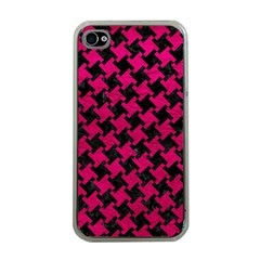 Houndstooth2 Black Marble & Pink Leather Apple Iphone 4 Case (clear) by trendistuff