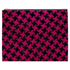 Houndstooth2 Black Marble & Pink Leather Cosmetic Bag (xxxl)  by trendistuff
