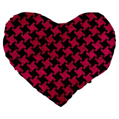 Houndstooth2 Black Marble & Pink Leather Large 19  Premium Heart Shape Cushions by trendistuff