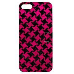 Houndstooth2 Black Marble & Pink Leather Apple Iphone 5 Hardshell Case With Stand by trendistuff