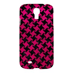 Houndstooth2 Black Marble & Pink Leather Samsung Galaxy S4 I9500/i9505 Hardshell Case by trendistuff