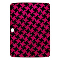 Houndstooth2 Black Marble & Pink Leather Samsung Galaxy Tab 3 (10 1 ) P5200 Hardshell Case  by trendistuff