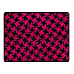 Houndstooth2 Black Marble & Pink Leather Double Sided Fleece Blanket (small)  by trendistuff