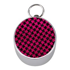 Houndstooth2 Black Marble & Pink Leather Mini Silver Compasses by trendistuff