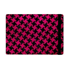 Houndstooth2 Black Marble & Pink Leather Ipad Mini 2 Flip Cases by trendistuff