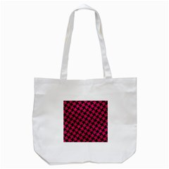 Houndstooth2 Black Marble & Pink Leather Tote Bag (white) by trendistuff