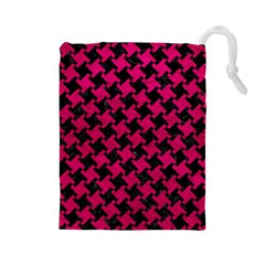 Houndstooth2 Black Marble & Pink Leather Drawstring Pouches (large)  by trendistuff