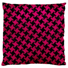 Houndstooth2 Black Marble & Pink Leather Large Flano Cushion Case (one Side) by trendistuff