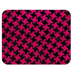 Houndstooth2 Black Marble & Pink Leather Double Sided Flano Blanket (medium)  by trendistuff
