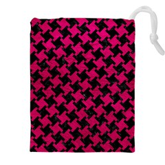 Houndstooth2 Black Marble & Pink Leather Drawstring Pouches (xxl) by trendistuff