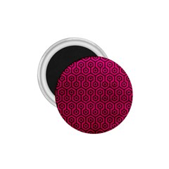 Hexagon1 Black Marble & Pink Leather 1 75  Magnets by trendistuff