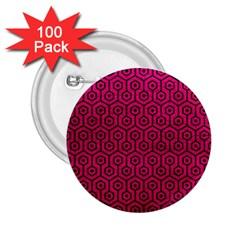 Hexagon1 Black Marble & Pink Leather 2 25  Buttons (100 Pack)  by trendistuff