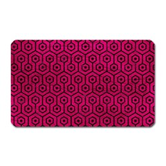 Hexagon1 Black Marble & Pink Leather Magnet (rectangular) by trendistuff