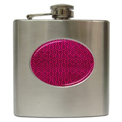 Hexagon1 Black Marble & Pink Leather Hip Flask (6 Oz) by trendistuff