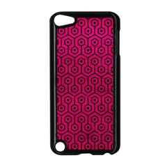 Hexagon1 Black Marble & Pink Leather Apple Ipod Touch 5 Case (black) by trendistuff