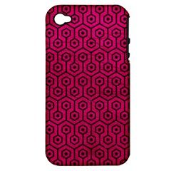 Hexagon1 Black Marble & Pink Leather Apple Iphone 4/4s Hardshell Case (pc+silicone) by trendistuff