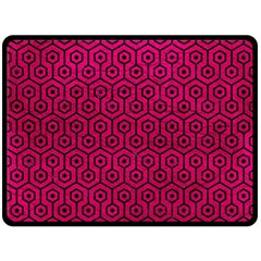Hexagon1 Black Marble & Pink Leather Double Sided Fleece Blanket (large)  by trendistuff