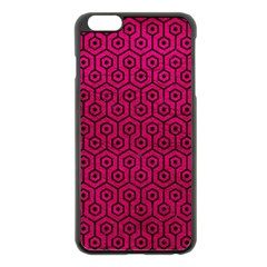 Hexagon1 Black Marble & Pink Leather Apple Iphone 6 Plus/6s Plus Black Enamel Case by trendistuff