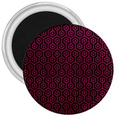 Hexagon1 Black Marble & Pink Leather (r) 3  Magnets by trendistuff