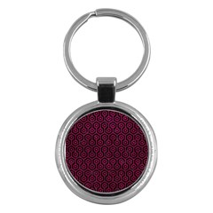 Hexagon1 Black Marble & Pink Leather (r) Key Chains (round)  by trendistuff