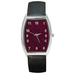 Hexagon1 Black Marble & Pink Leather (r) Barrel Style Metal Watch by trendistuff