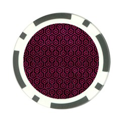Hexagon1 Black Marble & Pink Leather (r) Poker Chip Card Guard by trendistuff