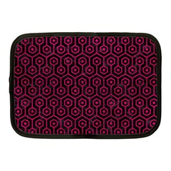 Hexagon1 Black Marble & Pink Leather (r) Netbook Case (medium)