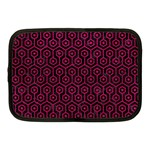 HEXAGON1 BLACK MARBLE & PINK LEATHER (R) Netbook Case (Medium)  Front