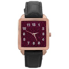 Hexagon1 Black Marble & Pink Leather (r) Rose Gold Leather Watch  by trendistuff