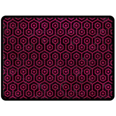 Hexagon1 Black Marble & Pink Leather (r) Double Sided Fleece Blanket (large)  by trendistuff