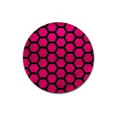 Hexagon2 Black Marble & Pink Leather Magnet 3  (round) by trendistuff