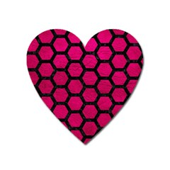 Hexagon2 Black Marble & Pink Leather Heart Magnet by trendistuff