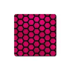 Hexagon2 Black Marble & Pink Leather Square Magnet by trendistuff